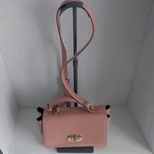 Dusty pink faux leather shoulder bag by forever21